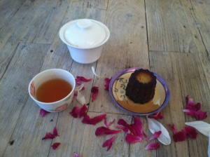 Four o'clock tea. Palais des Thes Montagne Bleue with rhubarb & Jacques Torres canele. Courtesy of my dining room table.